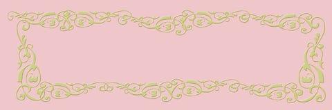 Bandera en blanco Fondo rosado con el marco de oro imagen de archivo libre de regalías