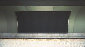 Bandera en blanco en frente del metro stock de ilustración