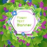 Bandera en el follaje y las flores botánicos de la lila Imagen de archivo