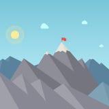 Bandera en el pico de montaña. Logro de la meta stock de ilustración