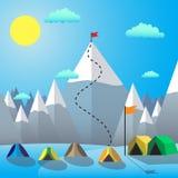 Bandera en el pico de montaña Logro de la meta Ejemplo plano del vector del diseño Foto de archivo libre de regalías
