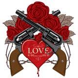 Bandera en el tema del amor y de la muerte con las pistolas libre illustration
