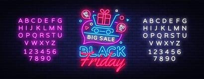 Bandera en estilo de neón de moda, letrero luminoso del concepto de la venta de Black Friday Publicidad nocturna de las rebajas d ilustración del vector