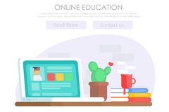 Bandera en línea de la educación stock de ilustración