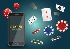 Bandera en línea del casino del póker del ejemplo del vector con un teléfono móvil, los microprocesadores, los naipes y los dados libre illustration
