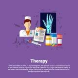Bandera en línea del web del uso de la terapia del hospital de la medicina médica de la atención sanitaria Foto de archivo