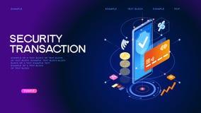 Bandera en línea segura de la web de la transacción del pago libre illustration