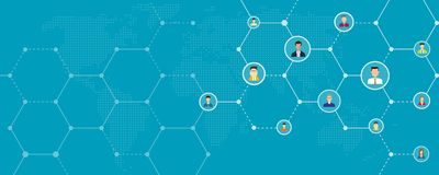 Bandera en línea y social del negocio global de red de la conexión del fondo stock de ilustración