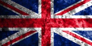 Bandera en la pared sucia vieja, bandera del grunge de Reino Unido de Union Jack Fotos de archivo