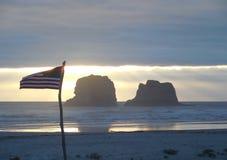 Bandera en la playa Fotografía de archivo