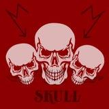 Bandera en un fondo rojo Tres cráneos grises, silueta con sh ilustración del vector
