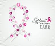 Bandera EPS del concepto de los símbolos de la conciencia del cáncer de pecho Foto de archivo