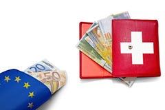 Bandera euro de las carteras del franco suizo Foto de archivo