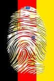 Bandera euro del alemán de la huella dactilar Imagen de archivo