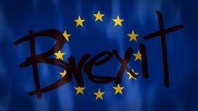 Bandera europea con las palabras Brexit, cantidad ideal para representar el concepto de abandono de la unión europea stock de ilustración
