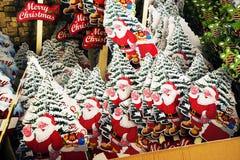 Bandera europea de la parada del mercado de la Navidad con diversos regalos Imagen de archivo libre de regalías