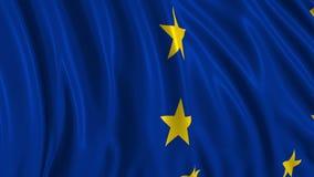 Bandera europea en la cámara lenta La bandera se convierte suavemente en el viento libre illustration