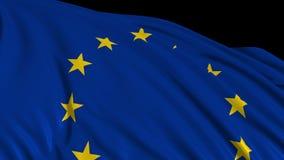 Bandera europea en la cámara lenta La bandera se convierte suavemente en el viento ilustración del vector