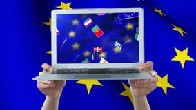 Bandera europea que agita en la pantalla del ordenador portátil stock de ilustración