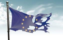 Bandera europea rasgada Fotografía de archivo libre de regalías