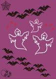 Bandera fantasmagórica de la tarjeta de Halloween ilustración del vector