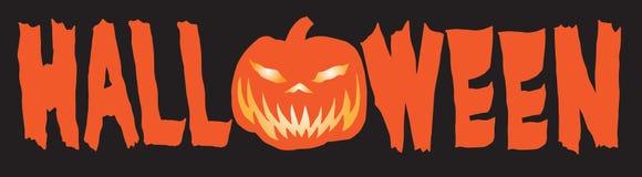 Bandera feliz B de HALLOWEEN de la Jack-o-linterna stock de ilustración