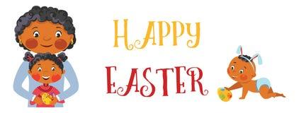Bandera feliz de la familia de Pascua stock de ilustración