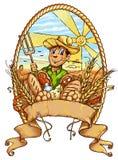 Bandera feliz de la pizca de la historieta del granjero stock de ilustración