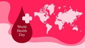 Bandera feliz de la tarjeta de felicitación del día de salud de mundo con la muestra de la sangre ilustración del vector