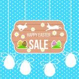 Bandera feliz de la venta de Pascua con el conejo y los huevos corrientes ilustración del vector