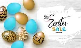 Bandera feliz de la venta de Pascua Fondo con oro hermoso y huevos azules en textura de madera Ejemplo del vector para los cartel ilustración del vector