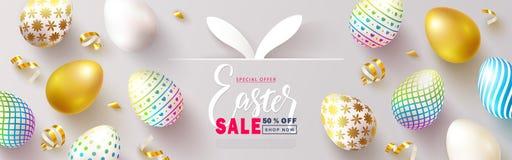 Bandera feliz de la venta de Pascua Fondo hermoso con los huevos coloridos y la serpentina de oro Ejemplo del vector para el siti ilustración del vector