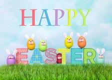 Bandera feliz de Pascua con los conejitos coloridos del huevo en hierba Imágenes de archivo libres de regalías