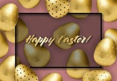 Bandera feliz de pascua con los huevos modelados de oro ilustración del vector
