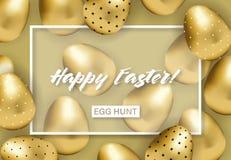 Bandera feliz de pascua con los huevos modelados de oro libre illustration