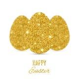 Bandera feliz de Pascua con tres huevos del brillo del oro
