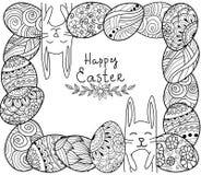 Bandera feliz de Pascua El enredo del zen eggs con los elementos ornamentales decorativos, conejos, conejito Fotos de archivo