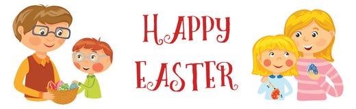 Bandera feliz de Pascua de la familia stock de ilustración