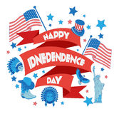 Bandera feliz del Día de la Independencia Ejemplo plano Fotografía de archivo