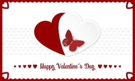 Bandera feliz del día de tarjetas del día de San Valentín con los corazones rojos y blancos y butterly Foto de archivo libre de regalías