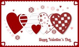 Bandera feliz del día de tarjetas del día de San Valentín con los corazones y las flores rojos y blancos Fotografía de archivo