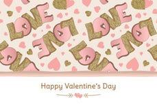 Bandera feliz del día del ` s de la tarjeta del día de San Valentín Tarjeta de felicitación Amor deletreado Oro y colores rosados ilustración del vector