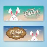 Bandera feliz del web de Pascua con el conejito libre illustration