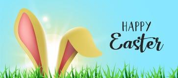 Bandera feliz del web de Pascua con los oídos divertidos del conejito stock de ilustración