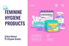 Bandera femenina de los productos de higiene stock de ilustración