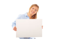 Bandera femenina joven feliz del espacio en blanco de la explotación agrícola fotografía de archivo libre de regalías