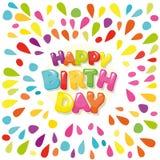 Bandera festiva del feliz cumpleaños Las letras de la historieta y la pintura colorida salpica Fotos de archivo libres de regalías