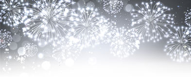 Bandera festiva gris con los fuegos artificiales Imagen de archivo