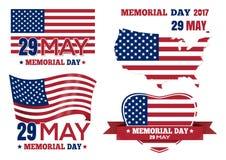 Bandera fijada para Memorial Day 2017 Fotos de archivo libres de regalías