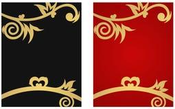 Bandera floral con los corazones stock de ilustración